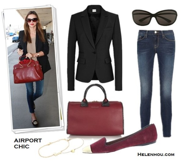 Miranda Kerr ,Rosie Huntington-Whiteley,airport style, Yves Saint Laurent duffel bag, Brian Atwoo ankle booties, VELVET X Lily Aldridge striped top, Chanel sunglasses, Helmut Lang Stretch-Leather Leggings, MCS Elena bracelet,  Longines watch, Frame Denim jeans, Ellery black blazer, Miu Miu Velvet Embroidered Slip-On loafer, Zoe & Morgan Si bracelet, Tom Ford cat eye sunglasses, Viktor & Rolf burgundy bag,what to wear on a plane, what to wear for summer vacation, Reiss Raffy SINGLE BREASTED TAILORED JACKET,   Frame Denim Le Skinny De Jeanne ,  See by Chloé April Big Duffel textured burgundy leather bag,  DV by Dolce Vita Lunna red burgundy cap toe loafer,  Tom Ford Malin Cat-Eye Sunglasses,   Gorjana Star Bracelet, Jennifer Zeuner Jewelry Cursive LOVE Bracelet,  helenhou, helen hou, the art of accessorizing, accessoriseart, celebrity style, street style, lookbook, model off-duty,red carpet looks,red carpet looks for less, fashion, style, outfits, fashion guru, style guru, fashion stylist, what to wear, fashion expert, blogger, style blog, fashion blog,look of the day, celebrity look,celebrity outfit,designer shoes, designer cloth,designer handbag,