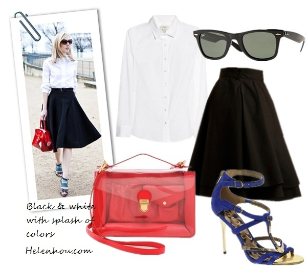 Jane Keltner de Valle, Giovanna Battaglia,street style, black and white, pop of red, clear bag, red bag, blue strap sandal, white shirt, black skirt, lace up booties, lace up sandal, how to wear black and red,  J.Crew Perfect stretch-cotton shirt,  Mod cloth Essential Elegance Skirt,  Marc by Marc Jacobs Clearly Top Handle Shoulder Bag ,  Sam Edelman Alena Blue Strappy Sandals,  Ray-Ban Polarized Wayfarer Sunglasses ,  helenhou, helen hou, the art of accessorizing, accessoriseart, celebrity style, street style, lookbook, model off-duty,red carpet looks,red carpet looks for less, fashion, style, outfits, fashion guru, style guru, fashion stylist, what to wear, fashion expert, blogger, style blog, fashion blog,look of the day, celebrity look,celebrity outfit,designer shoes, designer cloth,designer handbag, MICHAEL MICHAEL KORS envelope shoulder bag