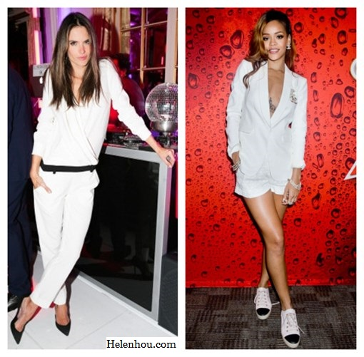 how to wear black and white, black and white for every age, Alessandra Ambrosio,Rihanna,Gwyneth Paltrow, white dress, black belt , black pump, white blazer, AA.L.C. top, cuffed white blazer ,black and gold sandals,IRO Color-block crepe jumpsuit, studded clutch, christian louboutin black pump, Rag & Bone white blazer, white shorts,diamond jewels,cap-toe sneakers,  helenhou, helen hou, the art of accessorizing, accessoriseart, celebrity style, street style, lookbook, model off-duty,red carpet looks,red carpet looks for less, fashion, style, outfits, fashion guru, style guru, fashion stylist, what to wear, fashion expert, blogger, style blog, fashion blog,look of the day, celebrity look,celebrity outfit,designer shoes, designer cloth,designer handbag,
