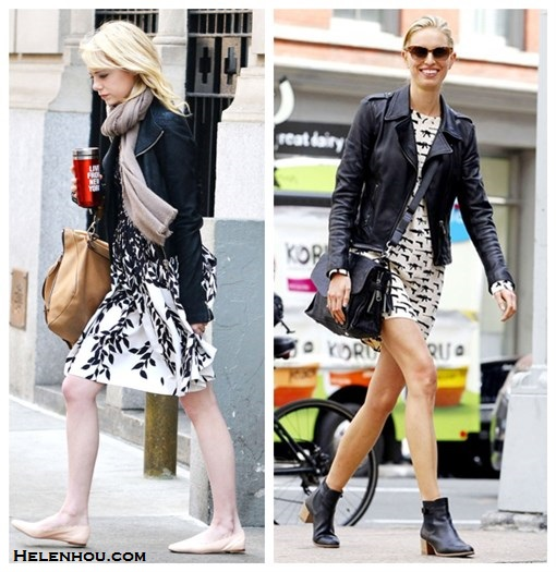 Emma Stone , Karolina Kurkova,what to wear with leather jacket, black and white printed dress, BLUMARINE sleeveless leaf print dress, nude flats, brown leather bag, stylish scarf, black satchel,black ankle booties, cat eye sunglasses, edgy and feminine, leather jacket and dress,   helenhou, helen hou, the art of accessorizing, accessoriseart, celebrity style, street style, lookbook, model off-duty,red carpet looks,red carpet looks for less, fashion, style, outfits, fashion guru, style guru, fashion stylist, what to wear, fashion expert, blogger, style blog, fashion blog,look of the day, celebrity look,celebrity outfit,designer shoes, designer cloth,designer handbag,