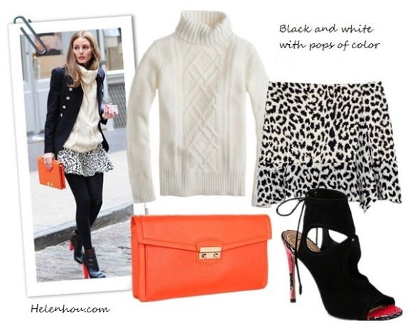 olivia palermo,street style, Aquazzura red heel booties, Zara black and white leopard skirt, Olivia & Joy orange clutch, burgundy white trim hat, black sweater, Club Monaco white turtleneck sweater, printed blouse, black jacket, how to wear leopard, J.Crew Cambridge cable turtleneck sweater,  Thakoon Addition@Moda OperandiSide Drape Ruffle Skirt ,  Cole Haan - Zoe Izzie Clutch (Woodbury),  Aquazzura Sexy Thing Suede & Snakeskin Ankle Boots ,  helenhou, helen hou, the art of accessorizing, accessoriseart, celebrity style, street   style, lookbook, model off-duty,red carpet looks,red carpet looks for less, fashion,   style, outfits, fashion guru, style guru, fashion stylist, what to wear, fashion   expert, blogger, style blog, fashion blog,look of the day, celebrity look,celebrity   outfit,designer shoes, designer cloth,designer handbag,