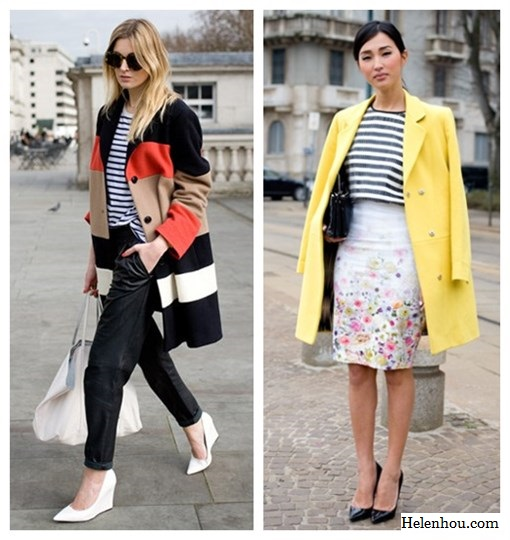 Camille Chaurriere, Nicole Warne,fashion week, street style, how to wear stripes, striped shirt, leather trousers, white pumps, white tote, striped coat, yellow coat, fitted floral pencil skirt, black pump, MSGM striped Top ,MSGM floal Skirt , MSGM yellow Coat , Jennifer Zeuner Necklace ,Sergio Rossi Heels , Celine Bag    helenhou, helen hou, the art of accessorizing, accessoriseart, celebrity style, street style, lookbook, model off-duty,red carpet looks,red carpet looks for less, fashion, style, outfits, fashion guru, style guru, fashion stylist, what to wear, fashion expert, blogger, style blog, fashion blog,look of the day, celebrity look,celebrity outfit,designer shoes, designer cloth,designer handbag,