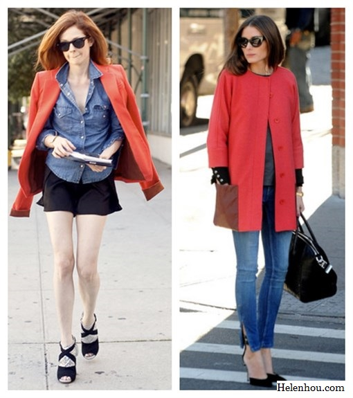 The art of accessorizing-helenhou.com-red jacket, denim staples and  statement shoe inspired by Stephanie Lacava and Olivia Palermo