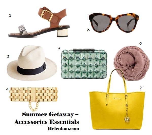 Summer Vacation Packing Essentials,beauty essentials, fashion essentials, summer getaway must haves,   ankle strap sandal, metallic heel sandal, colorblock sandal, snakeskin sandal, straw hat, leopard sunglasses, cat eye sunglasses, summer scarf, glass clutch, colored tote, beach tote, gold bracelet,  Sam Edelman Trina Low Heel Sandals,  J.CrewPanama hat,  Karen Walker The Number One Sunglasses, Melinda Maria@Charm & ChainTitus Ring,  Reiss Alicia METAL CHAIN BRACELET,   MICHAEL Michael Kors - Saffiano Medium Travel Tote ,   BCBGMAXAZRIABCBGMAXAZRIA Lulu Clutch,  Chan Luu Cashmere and silk-blend scarf,   helenhou, helen hou, the art of accessorizing, accessoriseart, celebrity style,   street style, lookbook, model off-duty,red carpet looks,red carpet looks for less,   fashion, style, outfits, fashion guru, style guru, fashion stylist, what to wear,   fashion expert, blogger, style blog, fashion blog,look of the day, celebrity   look,celebrity outfit,designer shoes, designer cloth,designer handbag,
