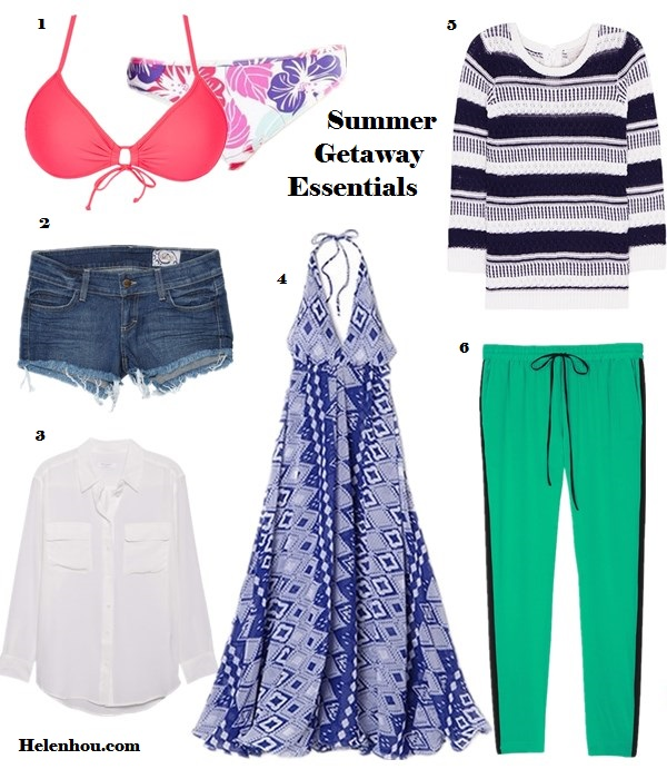 Summer Vacation Packing Essentials,beauty essentials, fashion essentials, summer getaway must haves, bright printed swimwear, bikini, lightweight striped sweater, open knit sweater, denim shorts, denim cut offs, printed maxi dress, silk light weight blouse, sheer blouse, white button down shirt, side stripe silk pants, lose fitted pants, silk pants, Body GloveBody Glove - Smoothies Baby Love Triangle Top,  Siwy Camilla Cutoff Shorts, Equipment Signature Blouse ,  JOSA tulum Houston Cover Up Dress,  Loft Textural Tie Back Sweater,  Tibi Spectator Track Pant,   helenhou, helen hou, the art of accessorizing, accessoriseart, celebrity style,   street style, lookbook, model off-duty,red carpet looks,red carpet looks for less,   fashion, style, outfits, fashion guru, style guru, fashion stylist, what to wear,   fashion expert, blogger, style blog, fashion blog,look of the day, celebrity   look,celebrity outfit,designer shoes, designer cloth,designer handbag,