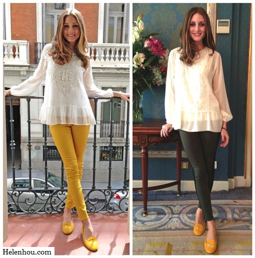 Olivia Palermo,  Zara white embellished blouse, Topshop black cape knit sweater, Hudson Jeans LeeLoo Leather Color Block Super Skinny Crop, Paige Denim Coated Edgemont Ultra Skinny Jeans,SchoShoes Milano yellow loafer,Westside Leaning sunglasses, yellow skinny jeans,how to wear colored jeans, how to wear loafer,    helenhou, helen hou, the art of accessorizing, accessoriseart, celebrity style, street style, lookbook, model off-duty,red carpet looks,red carpet looks for less, fashion, style, outfits, fashion guru, style guru, fashion stylist, what to wear, fashion expert, blogger, style blog, fashion blog,look of the day, celebrity look,celebrity outfit,designer shoes, designer cloth,designer handbag,