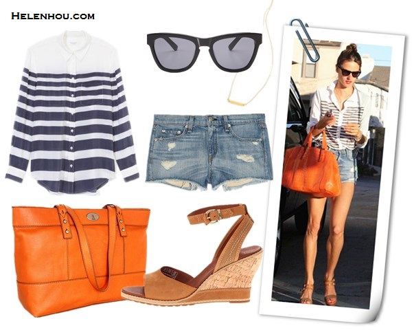 how to wear stripes, how to dress up stripes, how to wear leather shorts, striped top,  Alessandra Ambrosio, Lily Aldridge, CHLOÉ Triple strap sandal,Ella Moss Lila striped shirt in Royal,Gerard Darel Simple Bag cuir Melbourne in Orange,Westward Leading Mercury Seven sunglasses,distressed denim shorts, Lily Aldridge for velvet, striped top, white button down shirt, black leather shorts, nude pointy toe pumps, black fedora, black crossbody bag, dainty jewelry,summer outfit idea, denim shorts,  Equipment Lucky Stripe Reese Blouse in Electric Blue,  Ella Moss Nautical Stripe Jersey Shirt Royal Large,  Rag & Bone/JEAN The Mila Shorts,  Timberland Ankle Strap Sandal,  Westward Leaning sunglasses,  Fossil orange tote,  Gorjana Knox Necklace,  helenhou, helen hou, the art of accessorizing, accessoriseart, celebrity style, street style, lookbook, model off-duty,red carpet looks,red carpet looks for less, fashion, style, outfits, fashion guru, style guru, fashion stylist, what to wear, fashion expert, blogger, style blog, fashion blog,look of the day, celebrity look,celebrity outfit,designer shoes, designer cloth,designer handbag,
