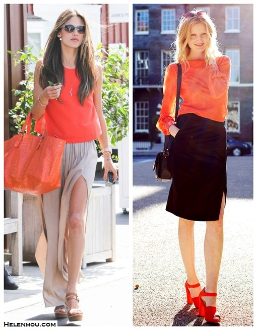 how to wear double side slit maxi skirt; how to wear bright orange; street style;  On Alessandra Ambrosio:Jennifer Zeuner Riley Long Skinny Snake Necklace with Emerald Eyes , Gerard Darel orange tote, Happiness Tank in Tangerine by lovers + friends,Chloé Leather Wedge Sandals,Kymerah double side slit maxi skirt; On Candice Lake: orange blouse, black pencil skirt with side splip, orange/red ankle stap sandal, black crossbody bag, red sunglasses