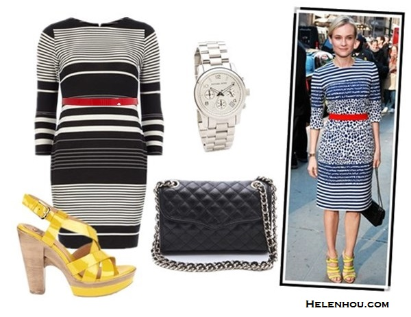 how to mix print, how to wear stripes, how to wear peplum, stripes and leopard, black and white with a pop of color, how to accessories black and white, Diane Kruger, Olivia Palermo,Tibi Horatio Striped peplum jacket, Zara animal PRINTED MINI SKIRT,Louis Vuitton Sofia Coppola red bag, black menswear oxford, leopard sunglasses, gold bracelet, preen stripe dress, red belt, chanel chain bag, yellow strappy sandal,  Dorothy PerkinsBlack/white stripe tube dress, Rebecca Minkoff Quilted Mini Affair Bag,  Söfft 'Velia' Sandal,  Cole Haan - Enamel Dressy Belt,  Michael Kors Sport Watch ,  helenhou, helen hou, the art of accessorizing, accessoriseart, celebrity style, street style, lookbook, model off-duty,red carpet looks,red carpet looks for less, fashion, style, outfits, fashion guru, style guru, fashion stylist, what to wear, fashion expert, blogger, style blog, fashion blog,look of the day, celebrity look,celebrity outfit,designer shoes, designer cloth,designer handbag,