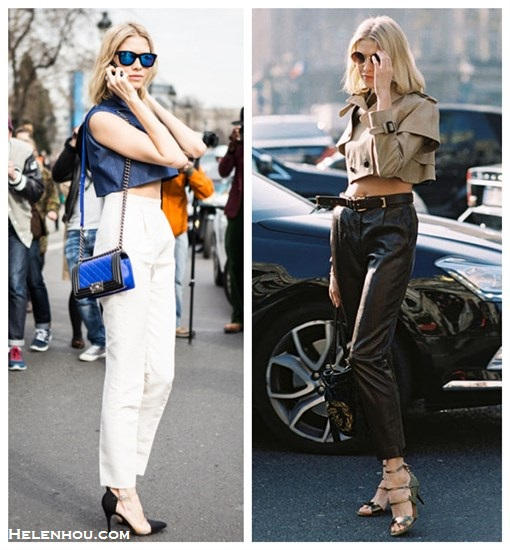 how to wear crop top, how to wear high waist pants, Elena Perminova, fashion week, street style, 2013 sping fashion trend, cropped top, white high waisted pants, translucent shoes, pvc pumps, ankle strap shoes, mirrored sunglasses, chanel boy bag, Chane see through shoes, burberry cropped trench coat, high waisted leather pants, strappy sandals, retro round sunglasses,    helenhou, helen hou, the art of accessorizing, accessoriseart, celebrity style, street style, lookbook, model off-duty,red carpet looks,red carpet looks for less, fashion, style, outfits, fashion guru, style guru, fashion stylist, what to wear, fashion expert, blogger, style blog, fashion blog,look of the day, celebrity look,celebrity outfit,designer shoes, designer cloth,designer handbag,