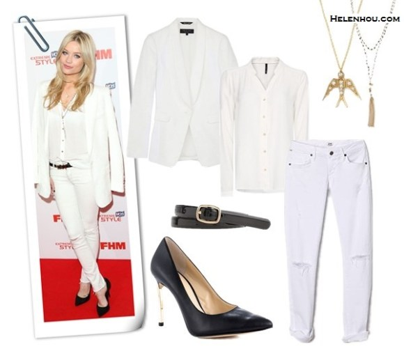 How to wear white blazer; black and white; white on white;   On Laura Whitmore:Paul Joe white blazer, Joie white blouse, J Brand white distressed skinny jeans, Kurt Geiger black pointy toe pumps, Pandora rings,  Stella Dot Gitane Tassel Necklace, Stella Dot Soar Necklace;  Alternative: Rag And Bone White Textured And Quilted Jefferson white Blazer,  Mango MANGOfit sheer white blouse,  Citizens of Humanity Racer Skinny white distressed Jeans,  Enzo Angiolini 'Infiniti' black Pump,  J.Crew Skinny patent belt,