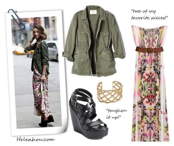 army jacket, how to wear amry jacket, floral maxi dress, how to style maxi dress, street style, model off-duty look,Lily Aldridge for Velvet, Lily Aldridge for Velvet by Graham & Spencer Army Jacket,  Kork-Ease 'Hailey' Wedge Sandal Black ,  Velvet by Graham & Spencer Lily Aldridge for Velvet Maxi Dress, Lauren Ralph Lauren Leather Belt, Charles Albert Woven Cuff,     helenhou, helen hou, the art of accessorizing, accessoriseart, celebrity style,   street style, lookbook, model off-duty,red carpet looks,red carpet looks for less,   fashion, style, outfits, fashion guru, style guru, fashion stylist, what to wear,   fashion expert, blogger, style blog, fashion blog,look of the day, celebrity   look,celebrity outfit,designer shoes, designer cloth,designer handbag,