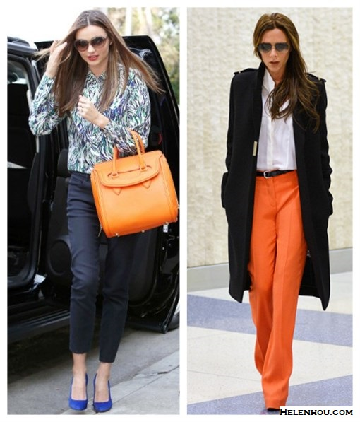 Miranda Kerr street style: wearing Alexander McQueen Heroine orange bag, Stella McCartney printed blouse, Manolo Blanhik blue pumps, black cropped pants and oversized sunglasses Victoria Beckham airport style wearing Victoria Beckham Collection coat and aviator sunglasses, orange pants, white shirt, Chloe sandal by helen hou, the art of accessorizing