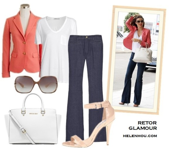 rosie-huntington-whiteley, Miranda Kerr, how to wear a white blazer, how to wear colored jeans, how to wear a pink blazer, how to wear wide leg jeans, Louis Vuitton sunglasses, Prada white bag, Stella Mccartney pink jacket, Alexander Wang Antonia nude strappy sandals, white tee, Christian Louboutin gold cap toe pumps, J Brand Carin mid-rise skinny-leg leather trousers, pink crop top,pink leather skinny,   J.CrewSchoolboy blazer in herringbone,  T by Alexander Wang Classic T Shirt with Pocket, MiH Marrakesh Kick Flare Jeans ,  Steve Madden - Realove (Red Patent) ,  MICHAEL Michael Kors 'Selma - Large' Leather Satchel,  Marc by Marc Jacobs Oversized Sunglasses , helenhou, helen hou, the art of accessorizing, accessoriseart, celebrity style,   street style, lookbook, model off-duty,red carpet looks,red carpet looks for less,   fashion, style, outfits, fashion guru, style guru, fashion stylist, what to wear,   fashion expert, blogger, style blog, fashion blog,look of the day, celebrity   look,celebrity outfit,designer shoes, designer cloth,designer handbag,