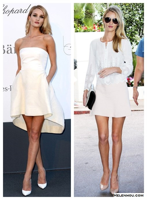 how to wear white dress; featured: Christian Dior white bustier, white skirt, white Christian Louboutin pump, Vanessa Bruno Eyelet blouse, Manolo Blahnik BB Patent Leather Point Toe Pumps, Chloe pale pink skirt, Jacquie Aiche jewelry, Burberry aviator sunglasses,