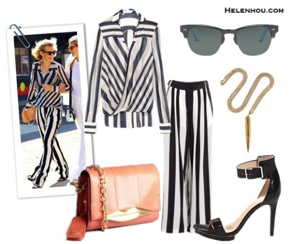 how to wear stripes, how to wear striped blazer, Olivia Palermo,blogger Zanita Morgan,10 Crosby Derek Lam Striped Surplice Blouse, MSGM Black White Stripe Silk Trousers ,CC SKYE Revolver Pendant Necklace,Toms Lobamba Tortoise Polarizeds sunglasses,mulberry lily crossbody bag,  Olivia Palermo-Zara striped jacket, Topshop white skirt,Tibi Ava Sequin Cami, Aquazzura ankle strap pump, Christian Dior blue bag,    Diane Von Furstenberg bright coral snakeksin and leather 'Lips' mini convertible shoulder bag,  Calvin Klein  Vivian two strap ankle strap heel sandal,  helenhou, helen hou, the art of accessorizing, accessoriseart, celebrity style, street style, lookbook, model off-duty,red carpet looks,red carpet looks for less, fashion, style, outfits, fashion guru, style guru, fashion stylist, what to wear, fashion expert, blogger, style blog, fashion blog,look of the day, celebrity look,celebrity outfit,designer shoes, designer cloth,designer handbag,