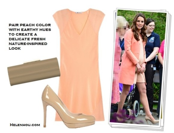 how to wear peach, coral, rose and dusty pink color, Rosie Huntington-Whiteley, Kate Middleton ,Milan street style,Funktional Software ligtht pink sheer Fold Front Blouse,Mother Denim  black skinny Looker jeans, B Brian Atwood strap Sandal, Jacqui Aiche gold jewelry, Tara Jarmon peach coral coat, L.K. BennettAvona Long Roll Clutch,L.K.Bennett nude Pumps,peach coral dress, maternity style, dusty pink sweater, black skirt with slip, lace up booties, Milan fashion week, spring outfit idea,  T by Alexander WangMesh-paneled silk dress,  helenhou, helen hou, the art of accessorizing, accessoriseart, celebrity style, street style, lookbook, model off-duty,red carpet looks,red carpet looks for less, fashion, style, outfits, fashion guru, style guru, fashion stylist, what to wear, fashion expert, blogger, style blog, fashion blog,look of the day, celebrity look,celebrity outfit,designer shoes, designer cloth,designer handbag,