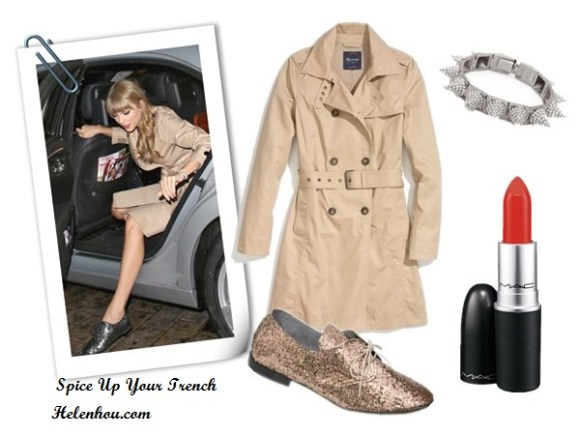 Taylor Swift, trench coat, metallic oxford, how to wear trench coat, spike jewelry, red lip, glitter oxford, Kate Space trench coat, Vince shoes, Madewell Belted Trench,  MadewellAnniel® Glitter Oxfords ,  CC SKYE Mercy Gold Spike Bracelet,  M·A·C Lipstick,  helenhou, helen hou, the art of accessorizing, accessoriseart, celebrity style, street style, lookbook, model off-duty,red carpet looks,red carpet looks for less, fashion, style, outfits, fashion guru, style guru, fashion stylist, what to wear, fashion expert, blogger, style blog, fashion blog,look of the day, celebrity look,celebrity outfit,designer shoes, designer cloth,designer handbag,