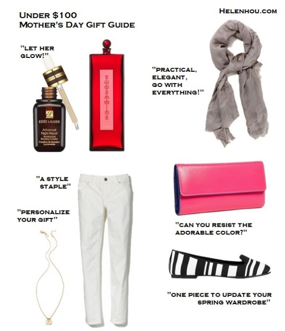 mother's day gift ideas 2013, wardrobe staple,timeless pieces,under 50 gift ideas, under 100 gift ideas,great gift ideas,fashion essentials, beauty essentials, clockwise from top left:  Estee Lauder 'Advanced Night Repair' Synchronized Recovery Complex,  Shiseido Eudermine Revitalizing Essence,   Love Quotes Knotted Tassel Scarf, Lodis Checkbook Clutch,  Ann Taylor Hadley Striped Canvas Loafers,  Gap 1969 Real Straight Skimmer Jeans,  Gorjana Alphabet Coin Necklace,  helenhou, helen hou, the art of accessorizing, accessoriseart, celebrity style, street style, lookbook, model off-duty,red carpet looks,red carpet looks for less, fashion, style, outfits, fashion guru, style guru, fashion stylist, what to wear, fashion expert, blogger, style blog, fashion blog,look of the day, celebrity look,celebrity outfit,designer shoes, designer cloth,designer handbag,