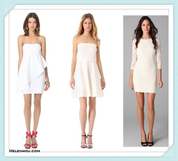 How to wear white dress; featured: Susana Monaco Flutter Tube Dress,  Rebecca Taylor Strapless Knit Dress,  Diane von Furstenberg Zarita Lace Dress,