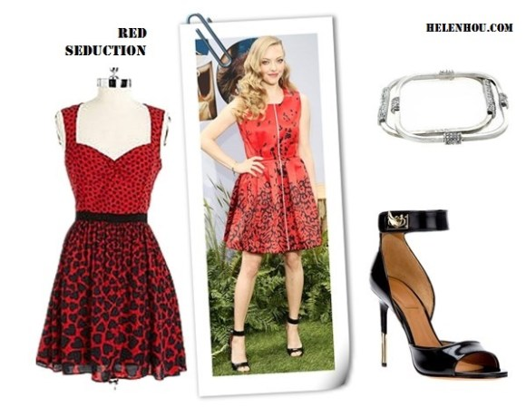 How to wear a red dress; strappy sandals; wedding guest outfit ideas;   On Amanda Seyfried:Givenchy High-Heel Ankle-Wrap Shark-Tooth Sandal; Preen red printed dress, Lorraine Schwartz jewelry Alternatives:  A.B.S. BY ALLEN SCHWARTZ Printed Sleeveless A-Line Dress,  Givenchy High-Heel Ankle-Wrap Shark-Tooth Sandal,  VINCE CAMUTO Square Silver-Tone & Crystal Bangle Set,