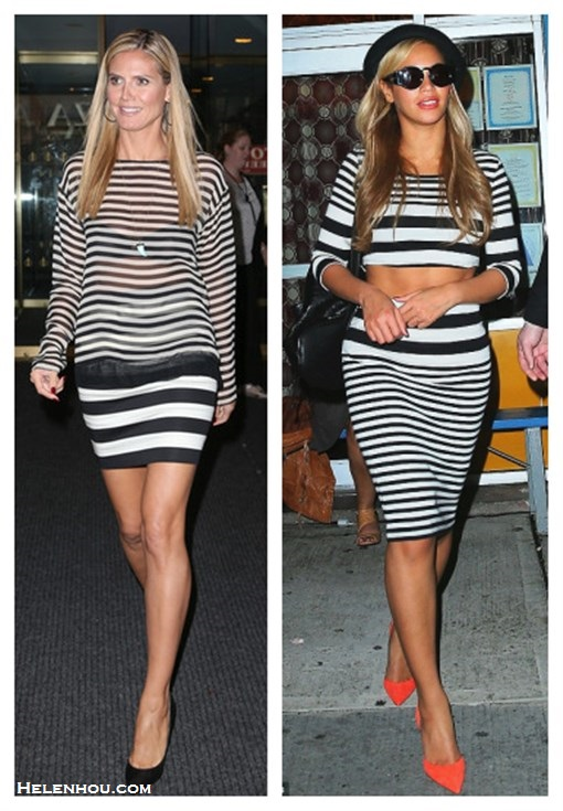 How to wear stripes with stripes; How to wear crop tops; How to wear sheer tops; Heidi Klum, Beyoncé Knowles;  On Beyonce: Topshop stripe crop top,Topshop Stripe Tube Skirt,KURT GEIGERDASH RUCKSACk black leather backpack,KAREN WALKER 'Blue Moon' retro round sunglasses,bright orannge red pumps, black hat;  On Heidi Klum:Nili Lotan Silk Stripe sheer blouse,Robert Rodriguez stripe skirt ,Christian Louboutin black pump, blue Turquoise shark tooth necklace,hoop earrings.  the stripes should vary. For example, Heidi's skirt has a wide stripe, while her blouse has a thinner stripe, breaking the two pieces up and creating balance.