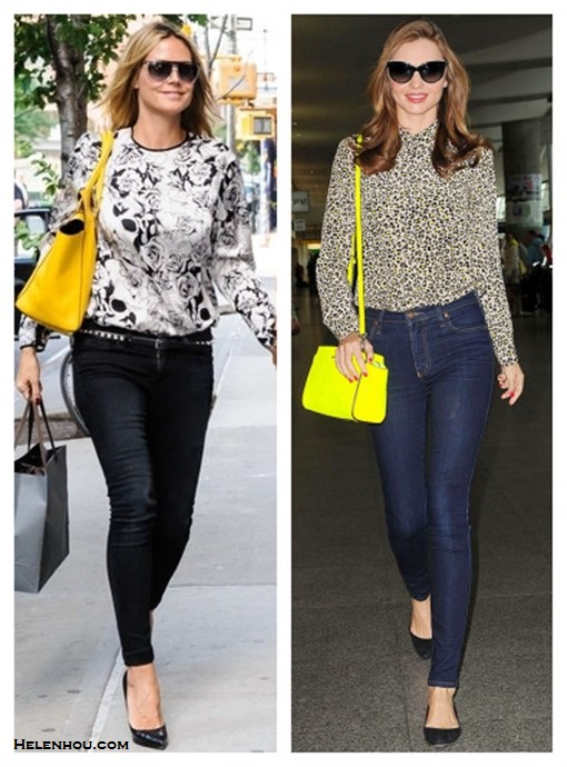 how to wear printed shirts;how to wear bright colored handbags;Heidi Klum,Miranda Kerr; street style;floral printed blouse, black skinny jeans, black pump, yellow bag, leopard printed shirt, blue skinny jeans, black ballet flats, yellow crossbody bag, oversized cat eye sunglasses. On Heidi Klum:black and white floral printed blouse, Paige black skinny jeans, Christian Louboutin black pumps, Michael Kors Miranda Pebbled yellow Tote, clear aviator sunglasses, embellished belt; On Miranda Kerr: Equipment Brett Silk Shirt in Bright Leopard Print, Nobody blue skinny jeans, Givenchy ballet flats, MICHAEL Michael Kors Selma Messenger yellow crossbody bag, Chanel oversized cat eye sunglasses,