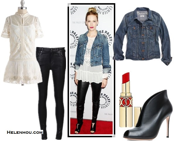 chic denim jacket outfits; how to style a white lace dress or peplum top; how to wear leather pants; street style; red carpet look; What To Wear To A Music Festival; Travel Outfits ideas;  On January Jones: Textile by Elizabeth and James denim jacket, Zara white lace crochet peplum top, Helmut Lang Stretch-Leather Leggings, Christian Louboutin peep toe leather booties, Marni bag, IDC earrings,  Alternatives: Madewell the jean jacket in storm cloud wash,  ModCloth Modern Day Maker lace peplum white Top,   Citizens of Humanity coated leather jeans,  Gianvito Rossi peep toe Bootie in Black,  Yves Saint Laurent ROUGE VOLUPTÉ - Silky Sensual Radiant Lipstick SPF 15