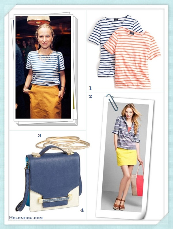 how to wear a striped sweater/top,how to dress up a casual shirt/sweater;Michele Hicks, Jenna Lyons,  Jen Brill,Jennifer Meyer,party outfits,casual attire. On Jennifer Meyer: blue and white striped tee,yellow denim skirt, navy leather crossbody bag, statement necklace, drop earrings, Alternatives: SAINT JAMES® FOR J.CREW striped SHRUNKEN TEE,  Gap Twill Mini yellow denim skirt,  Nadri Crystal gold Bangle set,  Vince Camuto colorblock 'Julia' Crossbody Bag,