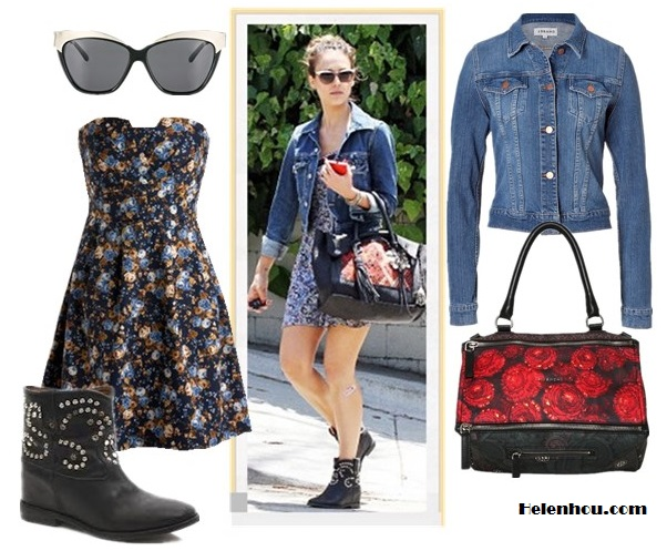 chic denim jacket outfits; how to style a floral dress; how to wear studded ankle boots; street style; What To Wear To A Music Festival; Travel Outfits ideas;  On Jessica Alba:blue denim jacket, Heartloom floral printed dress,Isabel Marant boots, Simone Camille bag, white top brow cat eye sunglasses; Alternatives: ModCloth Aerial Image floral print Dress,   Givenchy MEDIUM PANDORA FLOWER PRINT LEATHER BAG,  ASOSMetal Highbrow Cat Eye Sunglasses,