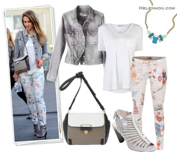 Style denim jacket; how to wear floral printed pants; how to wear midi skirt; street style, airport style;  On Jessica Alba: Jewels By Dunn bracelets,TEXTILE Elizabeth and James Floral Watercolor OZZY Jeans, grey denim jacket, white tee, grey strappy sandal, colorblock crossbody bag;   Alternatives: KUT from the Kloth Denim Jacket,   T by Alexander Wang Classic T Shirt with Pocket,  MOTHER The Looker Skinny printed Jeans,  Vince Camuto 'Eliana'strappy cutout Sandal,  Marc by Marc Jacobs colorblock Crossbody Bag,  Loren HopePetra Tri-Color teal turquoise necklace Necklace,