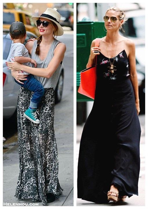 2f0443ab06 How to wear maxi skirts; street style; Miranda Kerr,Heidi Klum; grey