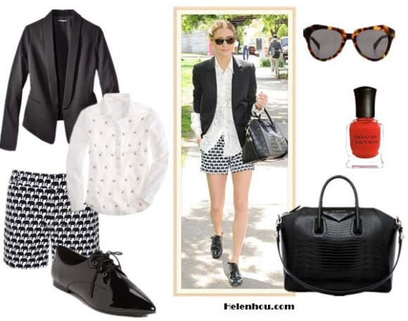 "How to wear monochrome look; Black and white trend; how to wear printed shorts/skirt;  On Olivia Palermo: Givenchy Antigona Satchel Bag, Banana Republic Milly Collection Elephant Print Short, YOiM patent leather black oxford, Wunderkind cat eye sunglasses, white printed blouse, black blazer;  Alternatives: Express SHAWL COLLAR black tuxedo JACKET,  J.Crew Collection jeweled boyfriend white blouse,   Tildon 'Astoria' patent leather black Oxford, GIVENCHY Antigona Medium Stamped Tejus in Black,  Karen Walker The Number One leopard cat eye Sunglasses,  Deborah Lippmann red Nail Color ""supermodel"","