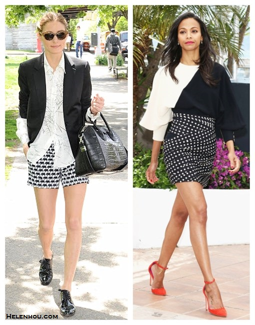 How to wear monochrome look; Black and white trend; how to wear printed shorts/skirt;  On Olivia Palermo: Givenchy Antigona Satchel Bag, Banana Republic Milly Collection Elephant Print Short, YOiM patent leather black oxford, Wunderkind cat eye sunglasses, white printed blouse, black blazer;  On Zoe Saldana at 66th Annual Cannes Film Festival:Oscar Tiye orange suede ankle-strap pumps;Emanuel Ungaro Fall 2013 collection black and white two-tone printed dress with polka dot skirt.