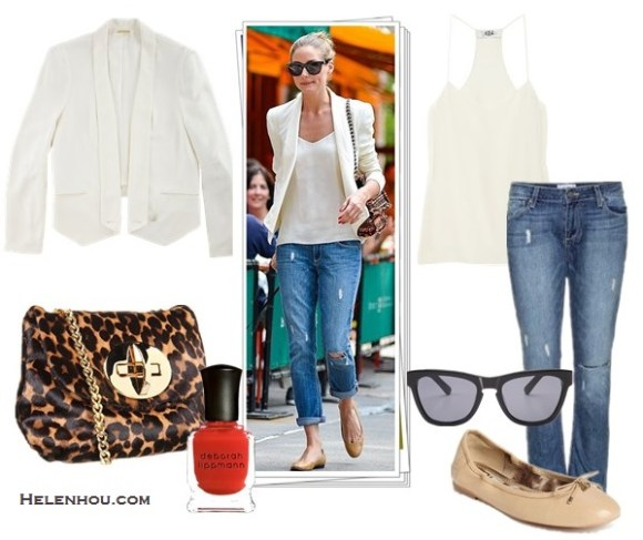 how to wear a white blazer; street style; how to wear maxi dress or skirt;  On Olivia Palermo: Mulberry tweed chain bag, rebecca Minkoff becky white blazer Jacket,Paige LYDIA distressed denim JEANS,Tibi silk cami, Andrea Carrano nude ballet flats, Westward Leaning black cat eye sunglasses. Alternatives:  Tibi Classic Racer Back Camisole,   Sam Edelman 'Felicia' Flat,  Stuart Weitzman leopard chain crossbody bag,  Deborah Lippmann 'Supermodel' polish,