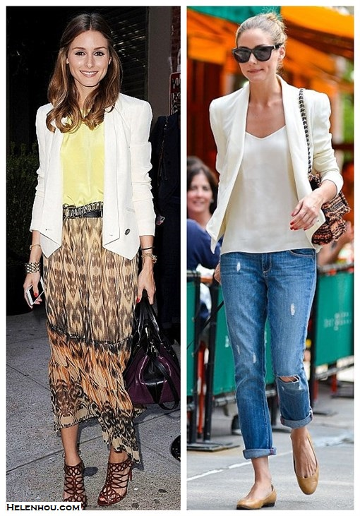 how to wear a white blazer; street style; how to wear maxi dress or skirt;  On Olivia Palermo: Christian Louboutin strappy sandals, Rebecca Minkoff becky white blazer Jacket, Chloé 'Alice' two tone purple and black bag, yellow silk cami, printed sheer maxi skirt, gold bracelet, gold watch, metallic belt;  On Olivia Palermo: Mulberry tweed chain bag, rebecca Minkoff becky white blazer Jacket,Paige LYDIA distressed denim JEANS,Tibi silk cami, Andrea Carrano nude ballet flats, Westward Leaning black cat eye sunglasses.