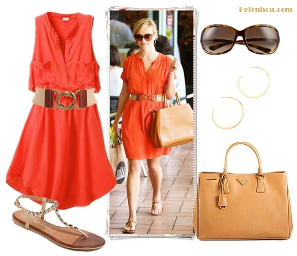 "Outfits for every occasion; How to wear bright red/orange dress; what to wear to summer parties; studded sandals;  On Reese Witherspoon:Fendi 2Jours Calfskin brown Tote Bag, Vanessa Bruno orange dress, Dita sunglasses, brown t strap studded flat sandal, elastic colorblock buckle belt; Alternatives: Splendid Henley orange Dress,  Jeffrey Campbell 'Calavera' Skull Stud t strap Sandal,  Prada ""Saffiano"" bag, Tom Ford 'Jennifer' 61mm Oval Frame Sunglasses,  Gorjana Arc Large Hoop Earrings,  LAUREN Ralph Lauren - Stretch Belt with Interlocking Buckle,"