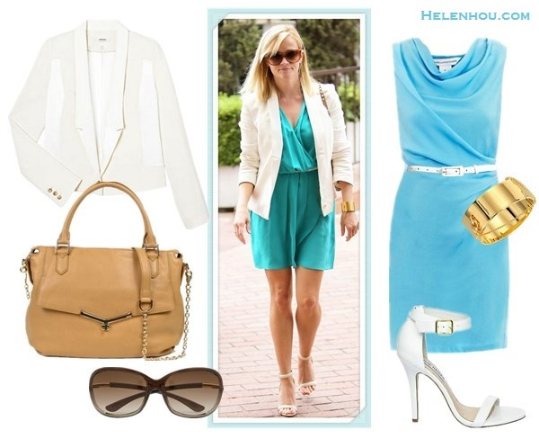 How to wear a white blazer; colorful office outfit idea; how to wear colored dress; wedding guest outfit ideas; how to wear strappy sandal; On Reese Witherspoon:J Brand Ready-to-Wear Combo white Jacket/blazer,blue green dress, white ankle strap sandal, gold cuff, valentino brown bag  Alternatives:  Diane Von Furstenberg Julissa blue dress,  Steve Madden REALOVE two strap sandals,   Botkier Valentina Satchel,  Tom Ford 'Jennifer' 61mm Oval Frame oversize Sunglasses,  Safety gold Chain Cuff,  Another Line 'Updated' colored Skinny Patent Belt,