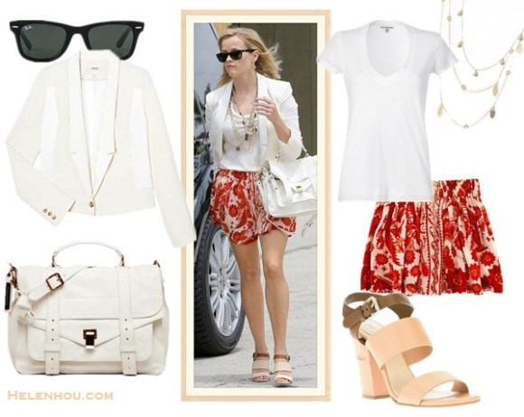 How to wear a white blazer; colorful office outfit idea; how to wear colored dress; wedding guest outfit ideas; how to wear strappy sandal;  On Reese Witherspoon: Ray-Ban 'Classic Wayfarer XL' 54mm Sunglasses, Proenza Schouler PS1 Medium Satchel Bag, White, Rebecca minkoff Dane Bandana Print Skirt,Chloé bi-colour sandal,J Brand Ready-to-Wear Combo white Jacket/blazer, gold earrings, layered necklaces;green blue dress, white ankle strap sandal, gold cuff, valentino brown bag. Alternatives:  James Perse plain white Tee,    Ray-BanOriginal Unisex Wayfarer Sunglasses,  Alicia Marilyn Designs Long gold and crystal necklace,  stella & dot Demi Layering Necklace ,