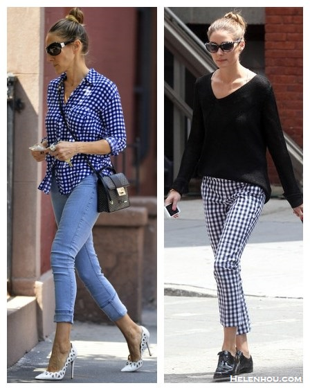 "How to wear gingham; Sarah Jessica Parker; Olivia Palermo; Street style;  On Sarah Jessica Parker: Splendid Gingham Button Down Blouse, MiH skinny jeans, jimmy Choo rebel crossbody bag, Jean-Michel Cazabat ""Elba"" white cut out pump, Ray ban Shield sunglasses; On Olivia Palermo:  Banana Republic Mad Men Collection Hampton-Fit Gingham Crop pants, Juicy Couture black shirt, menswear black oxford."
