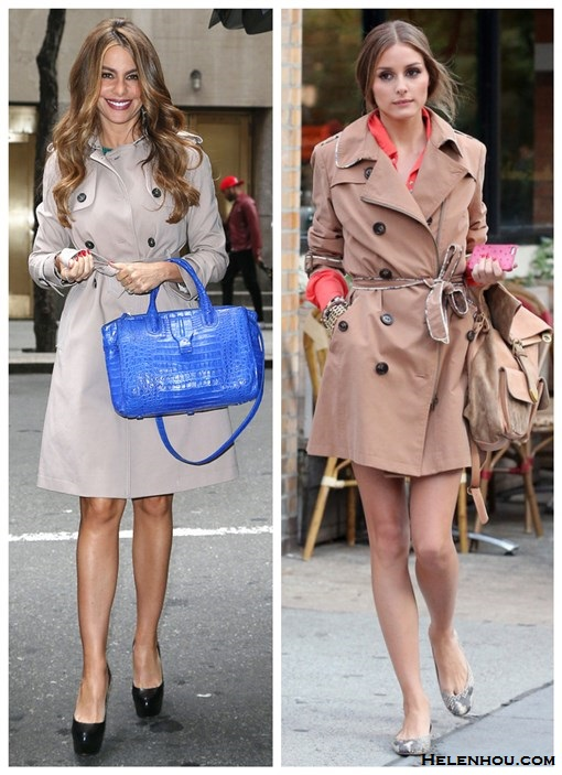stylish trench coat looks; Chic Summer Vacation Style;street style;party outfit; On Sofia Vergara: classic trench coat, blue satchel bag, black platform pump; On Olivia Palermo: camel trench coat, backpack, snakeskin/python ballet flat, orange shirt