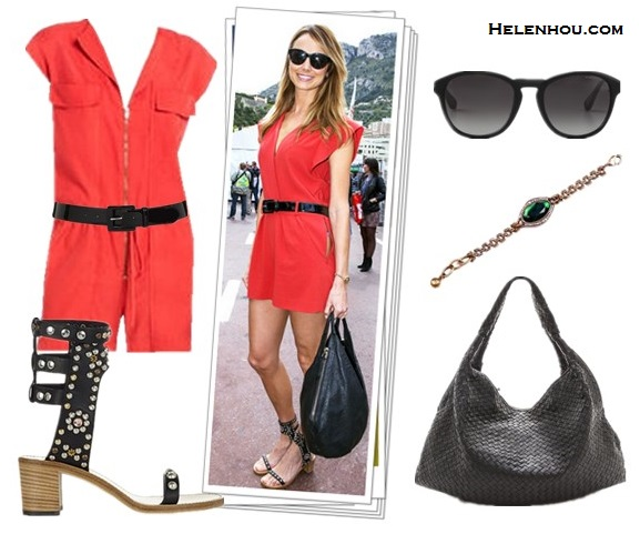 Outfits for every occasion; How to wear bright red/orange dress; what to wear to summer parties; studded sandals;  On Stacy Keibler: Alice by Temperley red romper, Isabel Marant Charlotte Strassed and Studded Sandals in Black, black patent leather belt, black hobo bag, black sunglasses, gold bracelet. Alternatives:BCBGMAXAZRIA Heusley Sleeveless Romper,  Christopher KonEllena Large Hobo,  Marc by Marc Jacobs Round Sunglasses,  Lulu Frost Absinthe Bracelet,  Lauren Ralph Lauren black patent leather Belt,