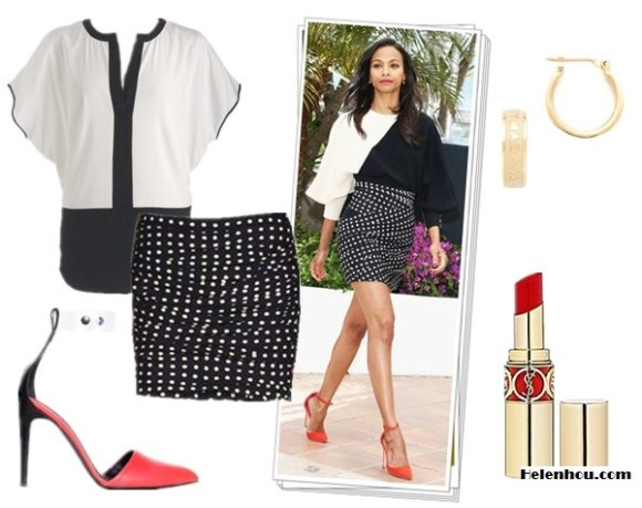 How to wear monochrome look; Black and white trend; how to wear printed shorts/skirt;    On Zoe Saldana at 66th Annual Cannes Film Festival:Oscar Tiye orange suede ankle-strap pumps;Emanuel Ungaro Fall 2013 collection black and white two-tone printed dress with polka dot skirt.  Alternatives:Vince Camuto Split Neck black and white colorblock Blouse,  JOSEPH black and white polka dot Mini skirt, tibi Daria ankle strap heels red,  Marc by Marc Jacobs Huggie Hoops,  Yves Saint Laurent ROUGE VOLUPTÉ - Silky Sensual Radiant Lipstick SPF 15,