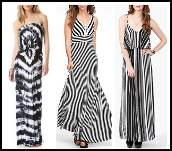 how to wear maxi dresses; black and white trend; monochrome look;  Featured: Young Fabulous & Broke Aphrodite Rio Wash Maxi Dress,  bebe - Tie Front Stripe Maxi Dress - Black/White,  Necessary Clothing In Line Maxi - Black/White,
