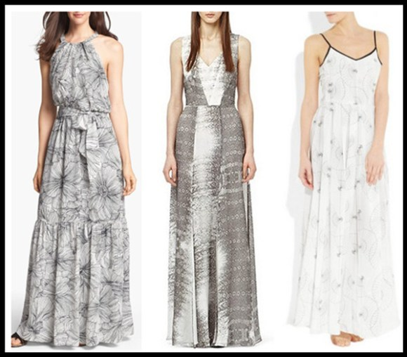 how to wear maxi dresses; black and white trend; monochrome look;  Featured: Jessica Simpson Scalloped Back Print Maxi Dress,  ReissReiss Alla GECKO PRINT SILK MAXI DRESS,  PiamitaZelda printed silk maxi dress,
