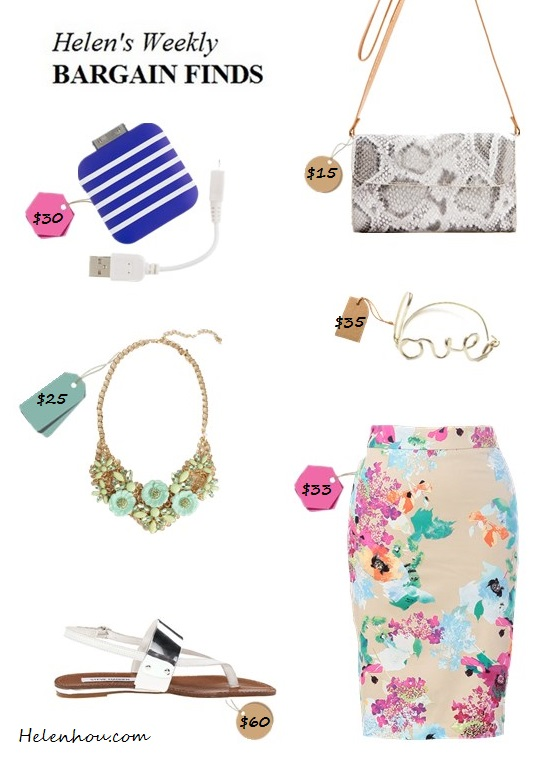 The art of accessorizing-helenhou.com-helen's weekly bargain finds-floral skirt-metallic sandal python bag and more
