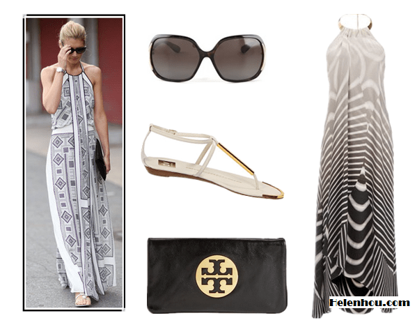 how to wear maxi dresses; black and white trend; monochrome look;   On street style:halter neck dress, white sandal, black clutch Alternatives:  Wallis Black And White Stripe Maxi Dress,   DV by Dolce Vita white strap sandals,   Tory Burch Reva Oversized black Clutch ,  Marc by Marc Jacobs Polarized Oversized Sunglasses,