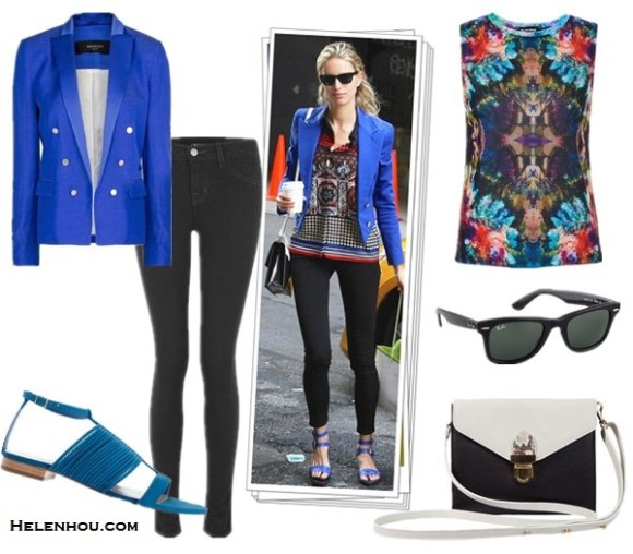 how to wear a colored blazer; how to wear statement shoes;Poppy Delevingne, Karolina Kurkova; color block blazer, distressed jeans, tassel rope-tie heel sandal, jimmy choo, crossbody bag, blue jacket, black skinny jeans, strappy sandals, colorblock bag, black and white, printed top, spring/summer, street style, party outfit, On Karolina Kurkova: blue jacket, black skinny jeans, ankle strap sandal, crossbody bag, ray ban sunglasses,ethnic printed blouse, Alternatives: MANGO breasted cobalt blue blazer,  TOPSHOP Petite Printed Mirror Tank,  J Brand 915 Super Skinny Legging Jeans,  Loeffler Randall Clemence-Blue,  TL180 Les NouvellesCartable White & Black Mini Crossbody Bag,  Ray-Ban Original Unisex Wayfarer Sunglasses,