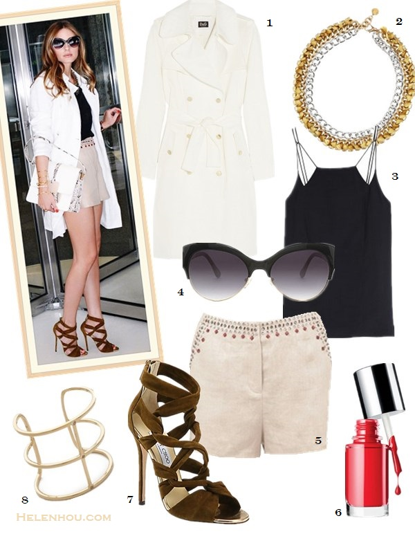 summer work outfit ideas; how to wear white; how to wear cut out shoes; how to wear bermuda  shorts; Olivia Palermo, white shirt/blouse; beige/khaki shorts, cut out heel sandal, white trench coat, python/snakeskin bag, white colorblock bag, black top, tibi, strappy sandal, Jimmy Choo, street style, spring/summer,  On Olivia Palermo: Tibi Silk Strappy Cami, Elizabeth and James Hendrick Trench, Elizabeth and James Addeline Crystal-Embellished Linen Shorts, Jimmy Choo Kemble Knotted Suede Sandals, Devi Kroell Moon Large Sutton bag,  Lulu Frost layered statement necklace, Elizabeth and James cuffs ,Cartier watch.   Alternative:1. D&G Cotton trench coat,  2. Lulu Frost Crystal chain necklace ,  3. Tibi Silk Strappy Cami,  4. Elizabeth and James 'Isabella' 55mm Sunglasses,  5. Elizabeth and James Addeline crystal-embellished linen shorts,  6. Clinique 'A Different Nail Enamel for Sensitive Skin',  7. Jimmy Choo Kemble Knotted Suede Sandals,  8. Elizabeth and James Berlin Multiband Cuff Bracelet,