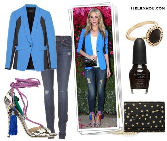 how to wear a colored blazer; how to wear statement shoes;Poppy Delevingne, Karolina Kurkova; color block blazer, distressed jeans, tassel rope-tie heel sandal, jimmy choo, crossbody bag, blue jacket, black skinny jeans, strappy sandals, colorblock bag, black and white, printed top, spring/summer, street style, party outfit, On Poppy Delevingne: Rag & Bone Jefferson blue Blazer, Jimmy Cho Dream rope-tie elaphe sandals,Jimmy Choo Candy Star-Printed Acrylic Clutch, distressed jeans, white tee;  Alternatives:  J Brand811 Mid Rise Skinny Jeans,    House of Harlow 1960Olbers Paradox Ring,  SEPHORA by OPI Nail Colour 'Never Enough Shoes',